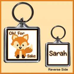 "Personalised ""For FOX Sake"" Square Key Ring"