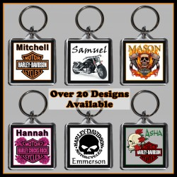 Personalised Harley Davidson Square Key Ring
