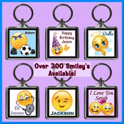Personalised Smiley - Emoji Square Key Ring