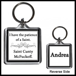 "Personalised ""Saint Cunty McFuckoff"" Square Key Ring"