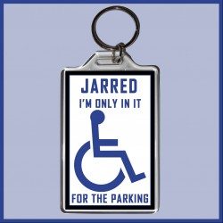 "Personalised ""I'm only in it for the Parking"" Large Key Ring"