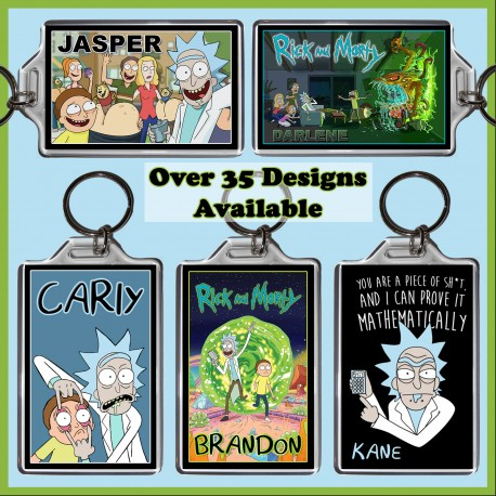 Personalised Rick and Morty Large Key Ring