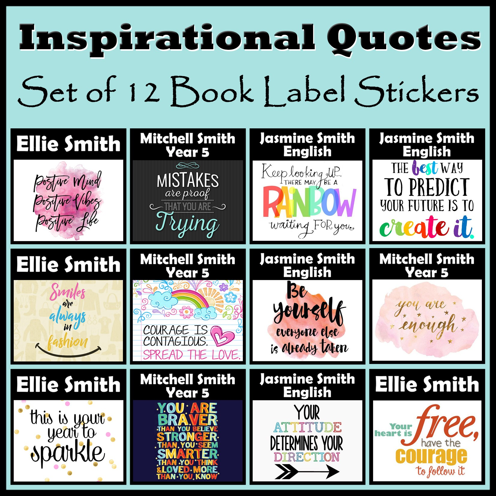 personalised inspirational quotes book labels - personalise it products
