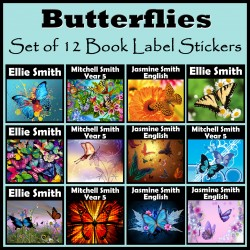 Personalised Butterfly Book Labels