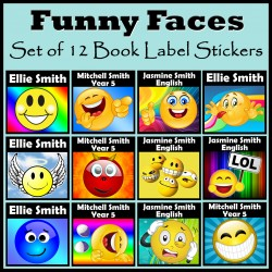 Personalised Funny Faces Book Labels