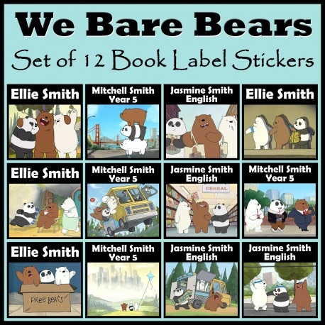 Personalised We Bare Bears Book Labels