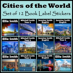 Personalised Cities of the World Book Labels
