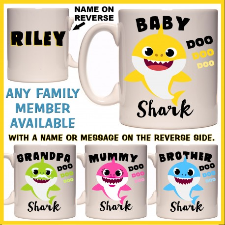 Personalised Baby Shark & Family Mug
