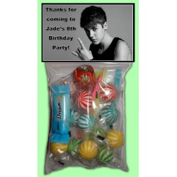 Personalised Justin Bieber Lolly Bags