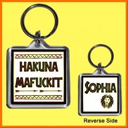 "Personalised ""Hakuna Mafuckit"" Square Key Ring"