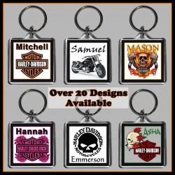 Personalised Harley Davidson Square Key Ring