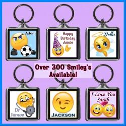 Personalised Smiley - Emoji Square Key Ring