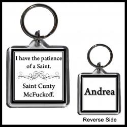 "Personalised ""Saint Cunty McFuckoff"" Square Key Ring"
