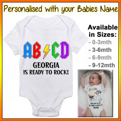 Personalised ABCD Ready to Rock! Baby Onesie