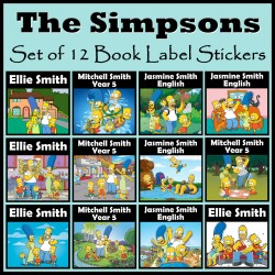 Personalised The Simpsons Book Labels