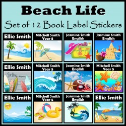 Personalised Beach Life Book Labels