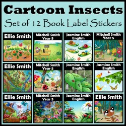 Personalised Cartoon Insects Book Labels