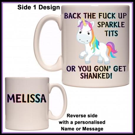 Personalised Back up Sparkle Tits Mug