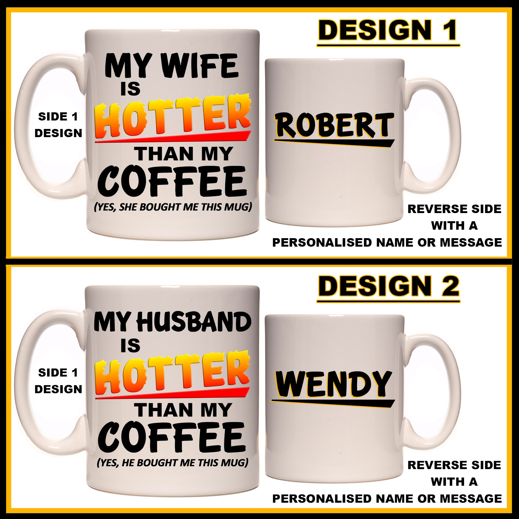 Personalised My Husband Wife Is Hotter Than My Coffee Mug