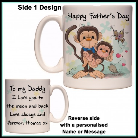 Personalised Happy Fathers Day Monkey Mug