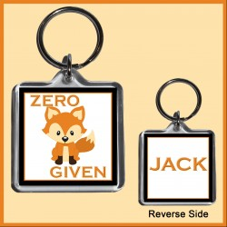Personalised Zero FOX Given Square Key Ring