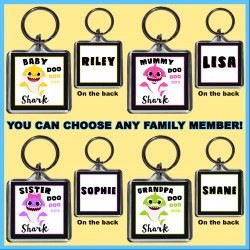 Personalised Baby Shark & Family Square Key Ring