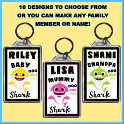 Personalised Baby Shark & Family Large Key Ring