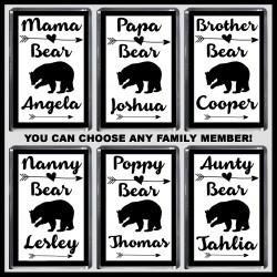 Personalised Mama Bear & Family Fridge Magnet