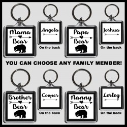 Personalised Mama Bear & Family Square Key Ring