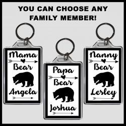 Personalised Mama Bear & Family Large Key Ring