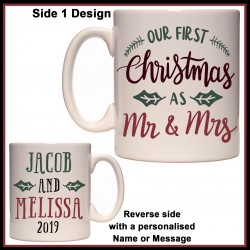 Personalised Our First Christmas as Mr & Mrs Mug