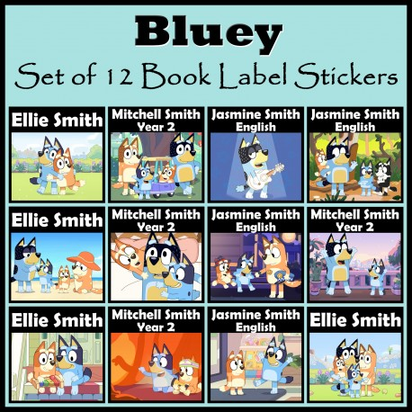 Personalised Bluey Book Labels