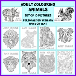 Personalised Adult Colouring - Animals