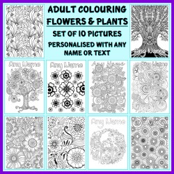 Personalised Adult Colouring - Flowers and Plants