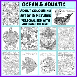Personalised Adult Colouring - Ocean and Aquatic