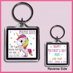 Personalised Mumicorn - Awesome Mum Square Key Ring
