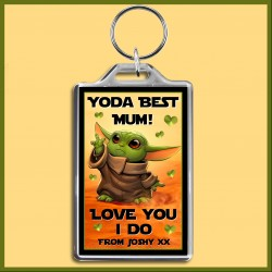 Personalised Yoda Best Mum Large Key Ring