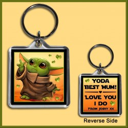 Personalised Yoda Best Mum Square Key Ring