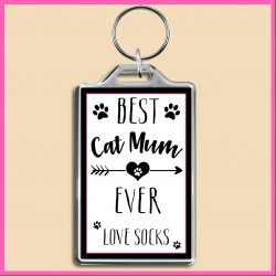 Personalised Best Cat Mum Ever Large Key Ring