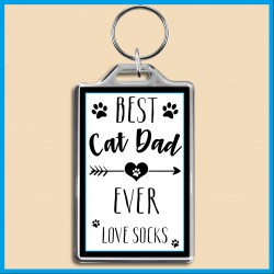 Personalised Best Cat Dad Ever Large Key Ring