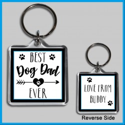 Personalised Best Dog Dad Ever Square Key Ring
