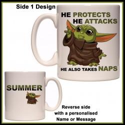 Personalised Baby Yoda - Protects, Attacks, Takes Naps Mug